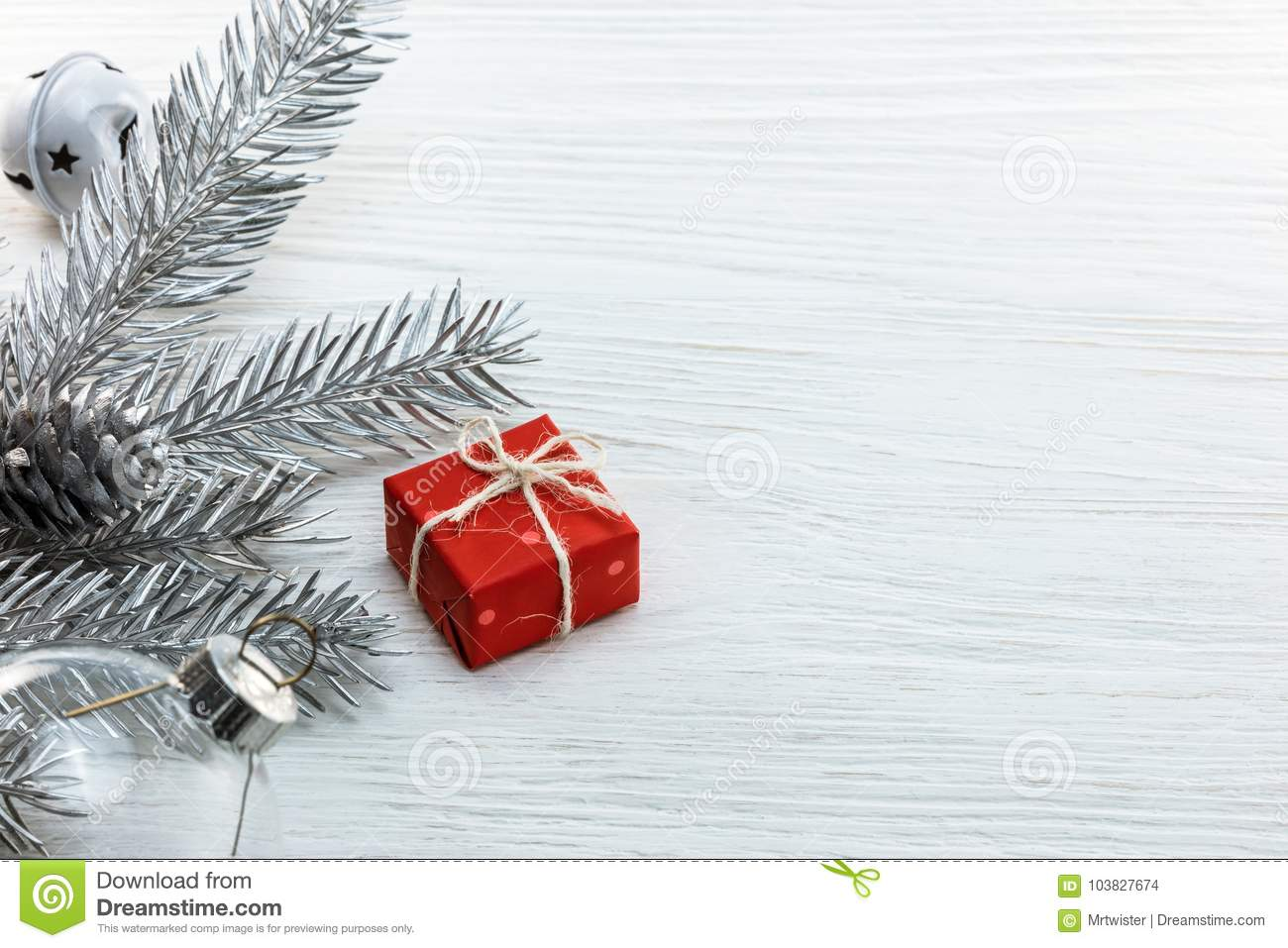 download silver christmas tree branch tree decorations and red gift box stock photo image