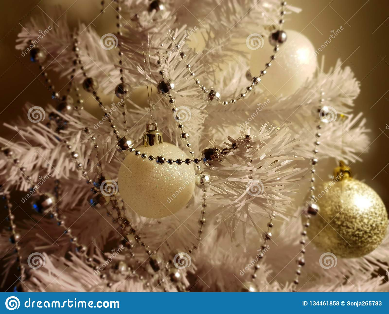 Silver Christmas Tree With Colorful Decoration Elements Of Holiday Happy New Year Stock Photo Image Of Creative Gift 134461858
