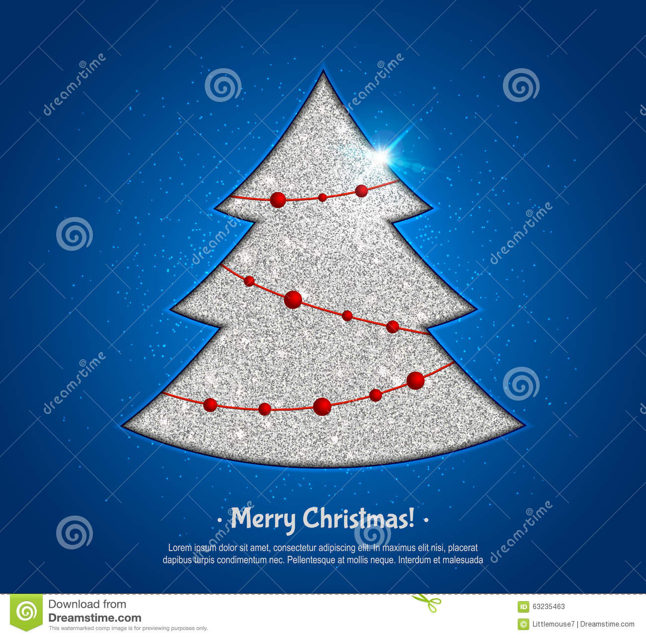 Silver christmas tree and fairy lights design greeting card