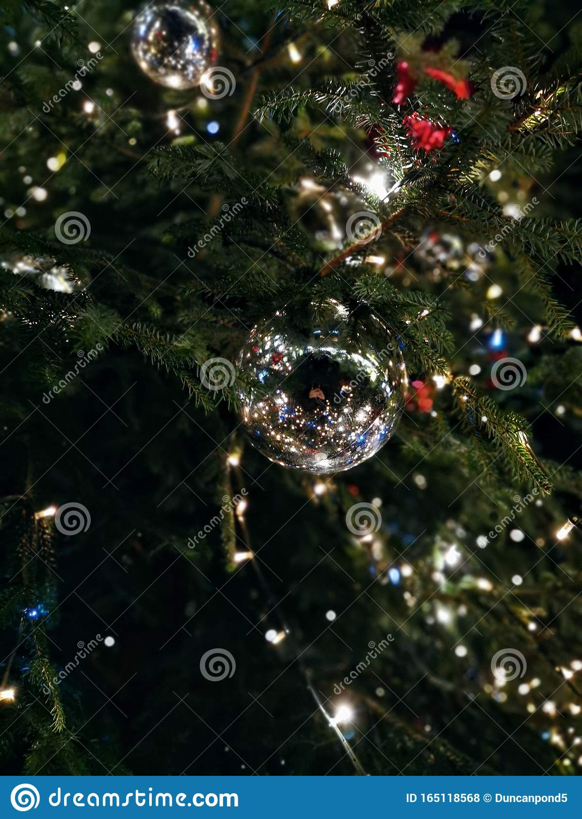 Silver Christmas Tree Ornaments At Night Stock Photo Image Of Decorated Zurich 165118568