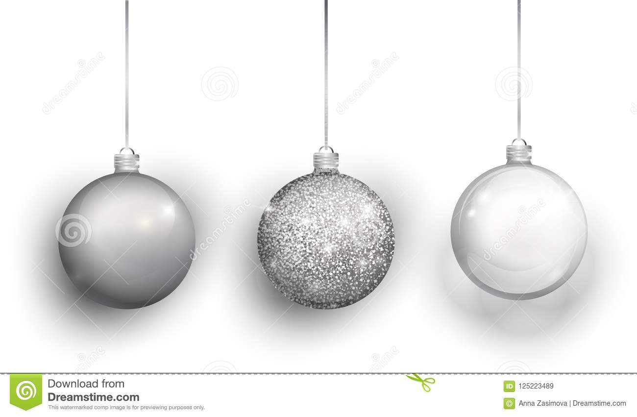 download silver christmas tree toy set isolated on a transparent background stocking christmas decorations