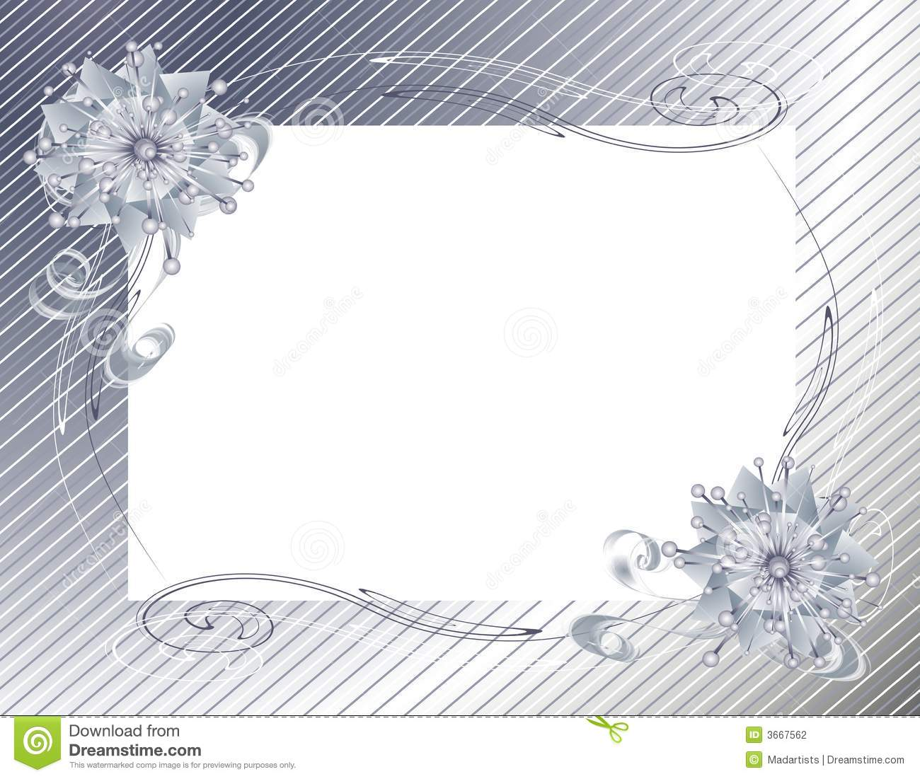Silver Christmas Wrap And Bow Frame Stock Illustration