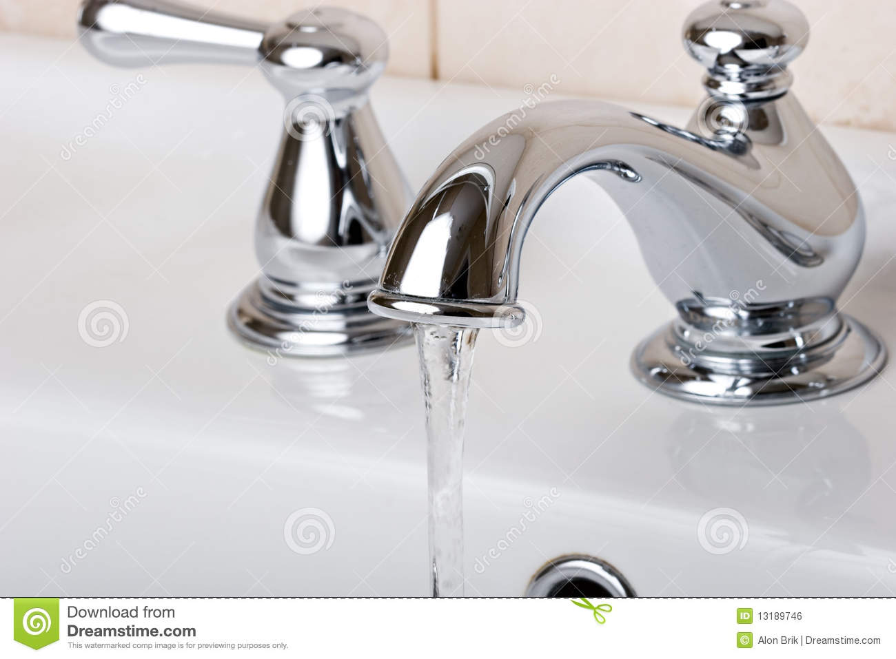 Silver Chrome Bathroom Tap Faucets Running Water Stock Photo - Image ...