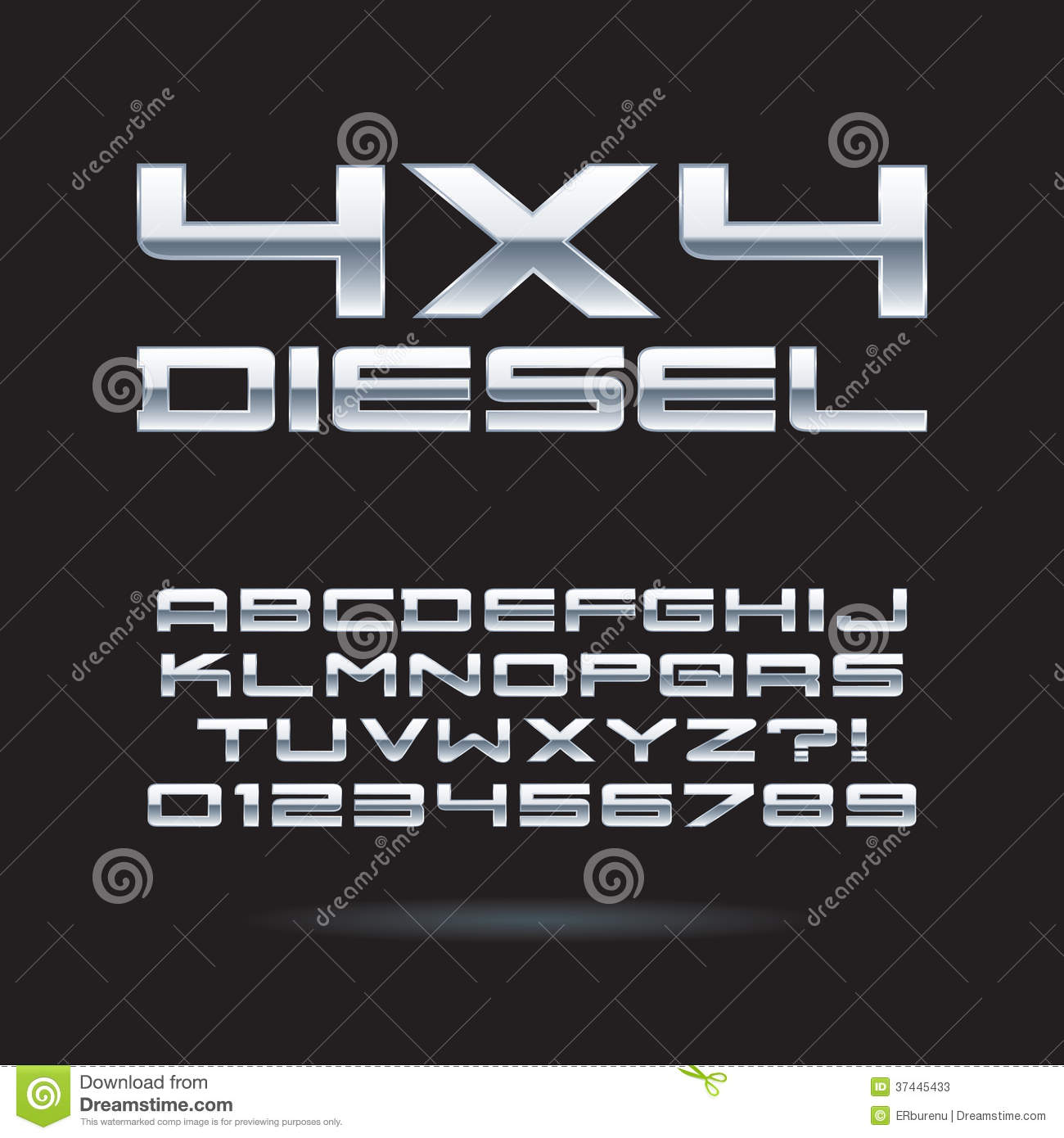 Silver Chrome Font and Numbers, Eps 10 Vector, Edi