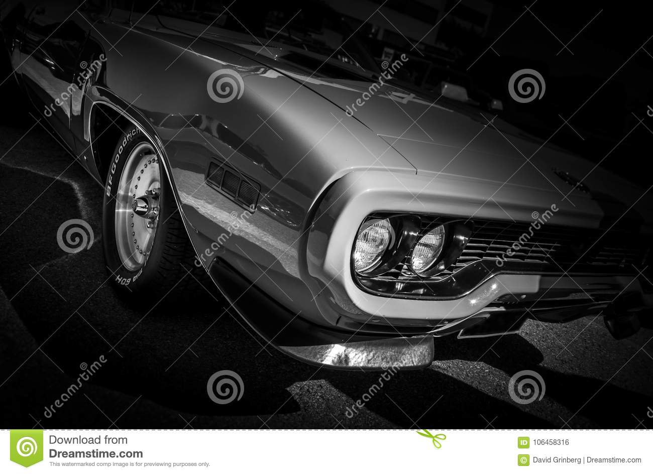 Silver Classic American Muscle Car On Black Background Stock Photo