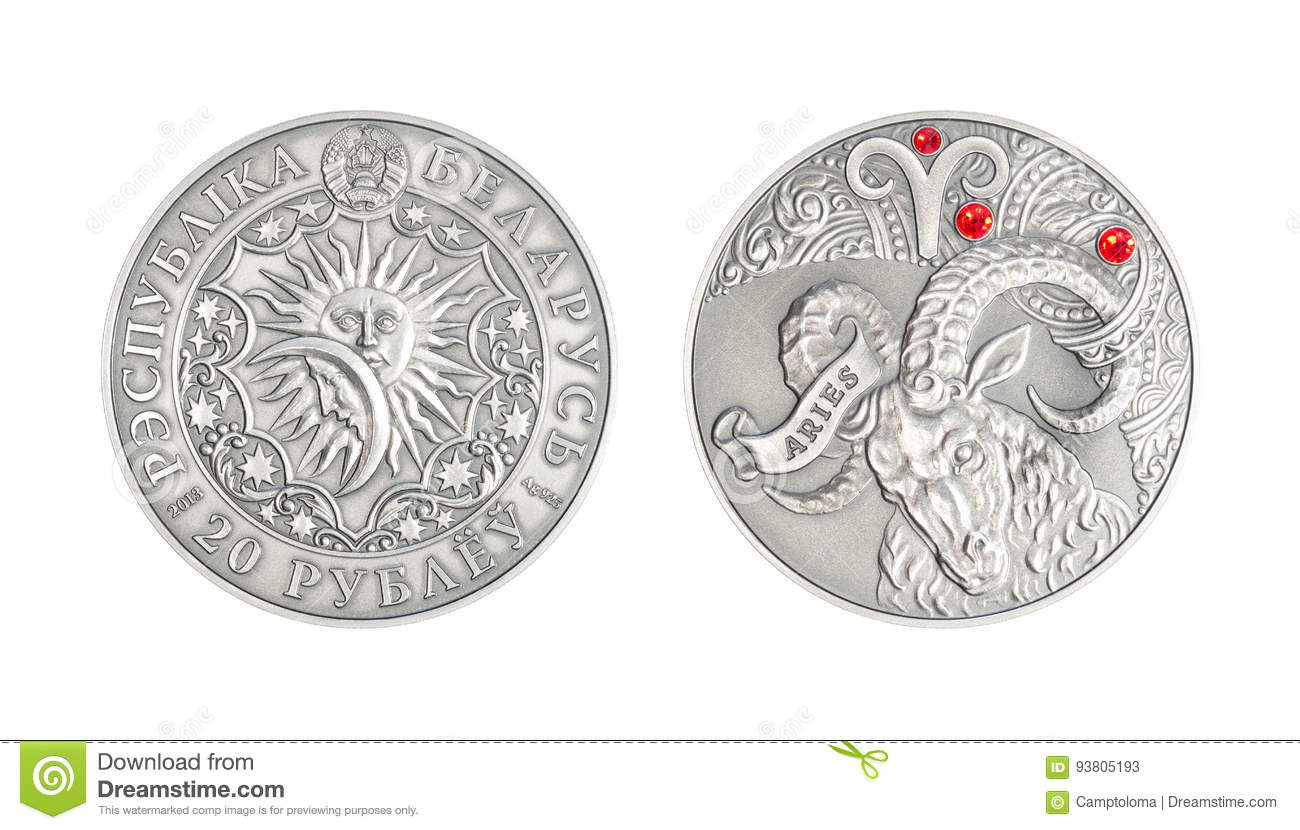 Silver coin Astrological sign Aries