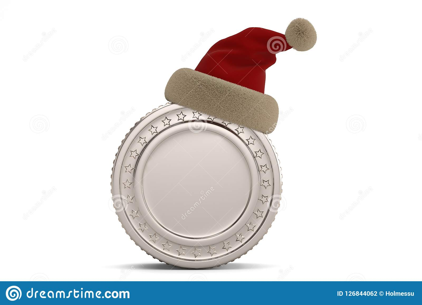 b7698b69a53eb Silver Coin With Santa Hat Isolated On White Background.3D Illus ...
