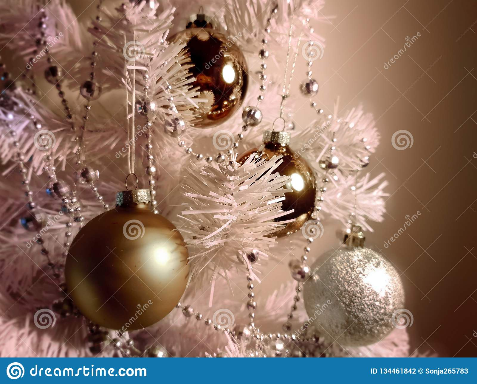 Silver Colorful Modern Christmas Tree Decoration Modern Elements Of Holiday Happy New Yea Stock Photo Image Of Garlands Background 134461842