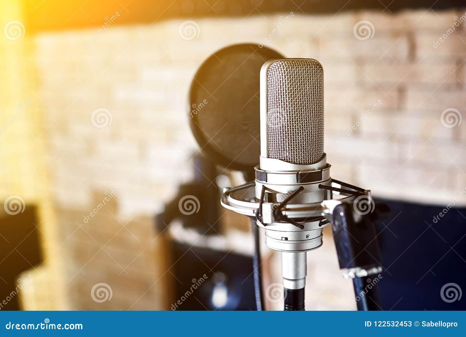 Silver condenser microphone. Music studio.