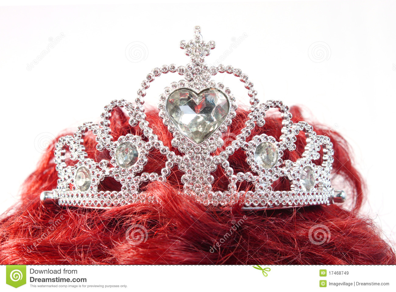 Silver Crown On Red Hair Stock Image Image Of Symbol 17468749
