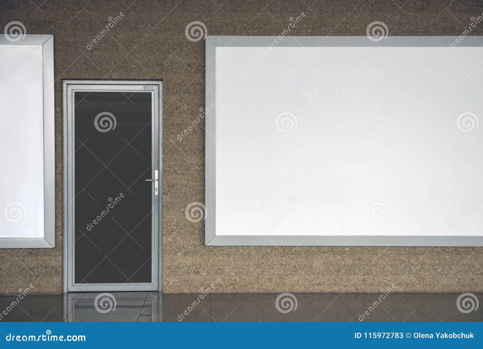 Silver Door Locating Near Big Board Stock Image - Image of company ...
