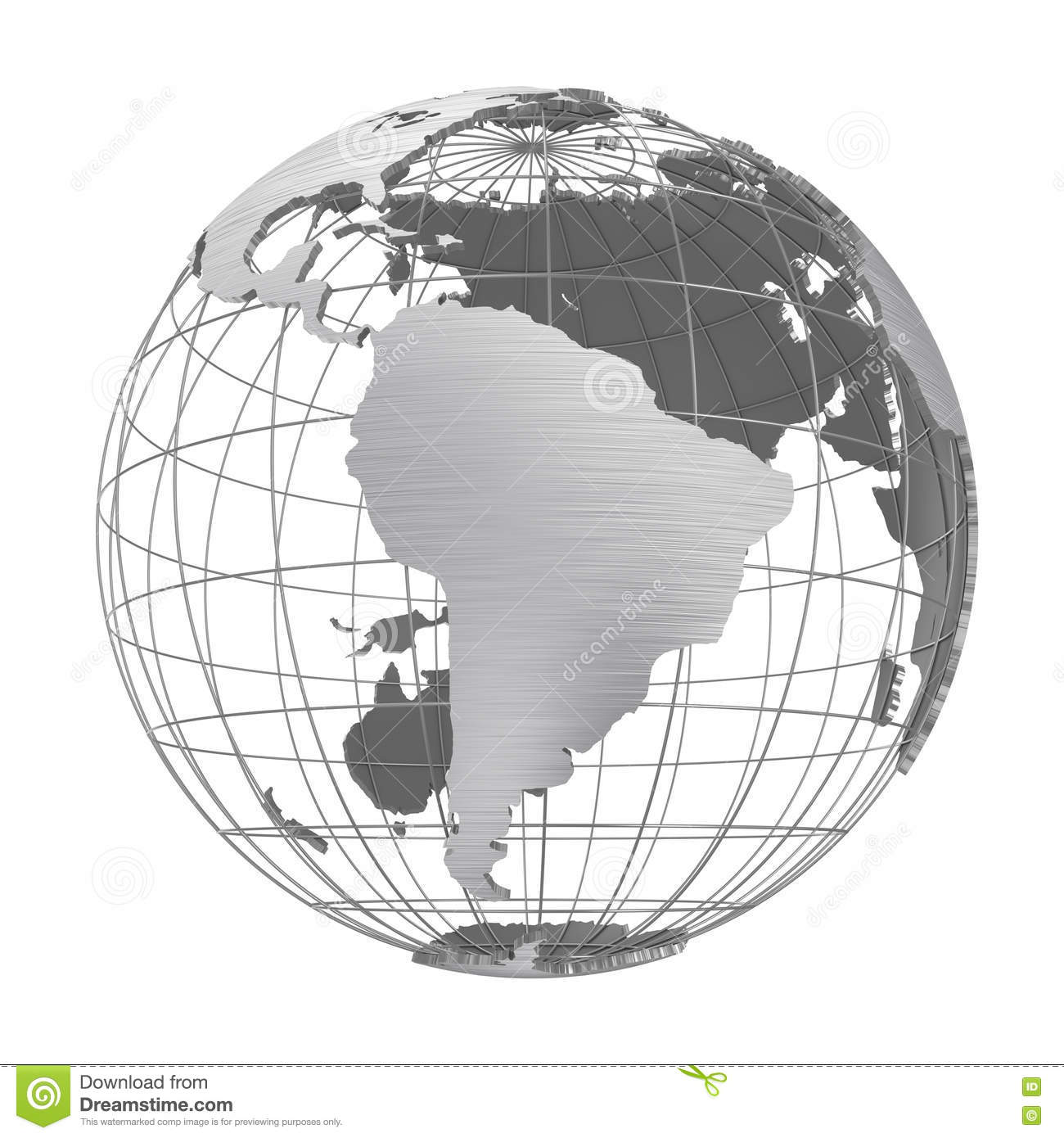 Silver Earth Planet 3D Globe Isolated Stock Photo - Illustration of ...