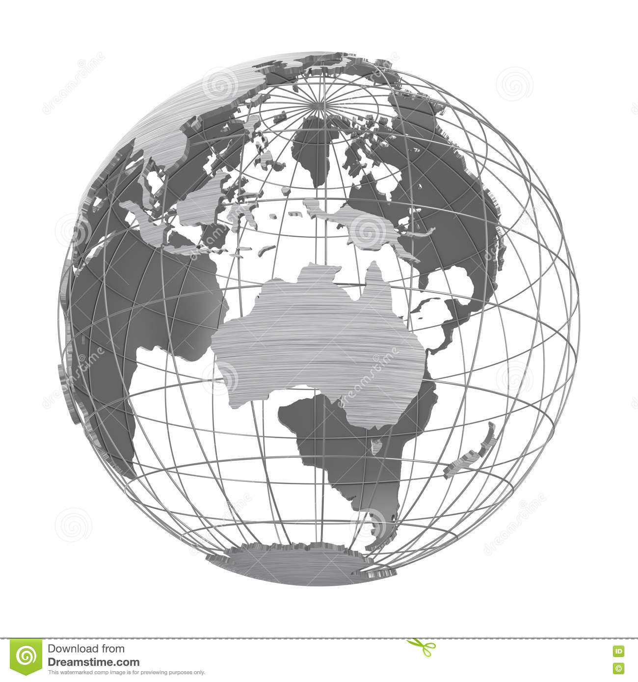 Silver Earth Planet 3D Globe Isolated Stock Image - Illustration of ...