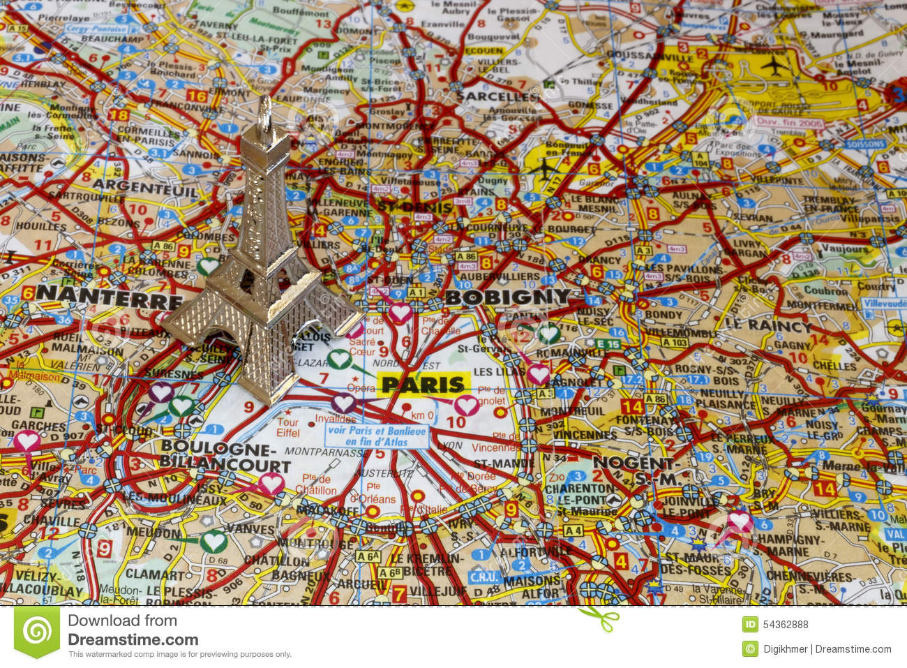 Silver Eiffel Tower On Paris Map Stock Photo Image Of French