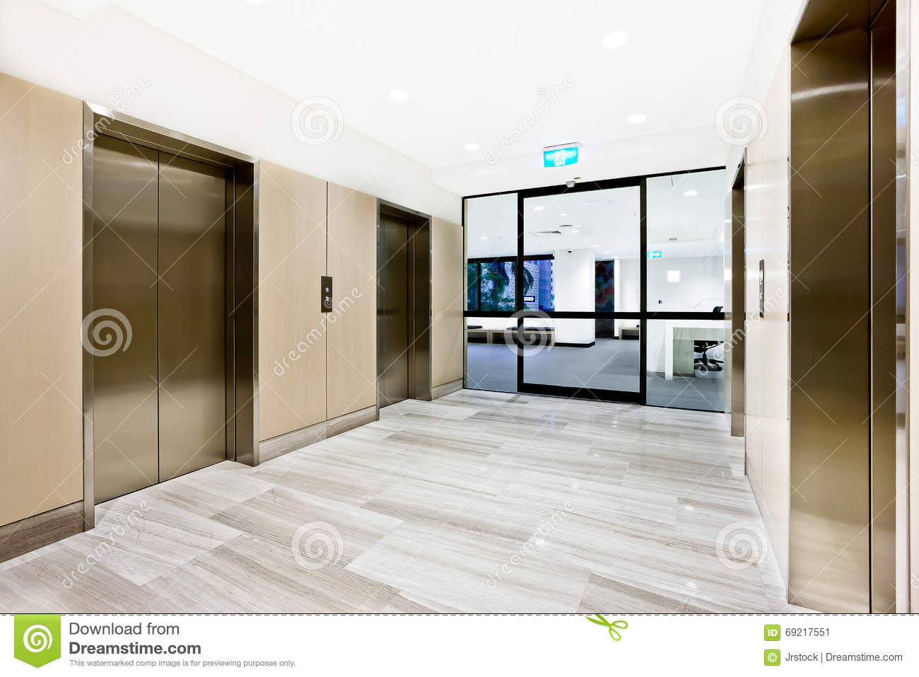 Silver elevator in a building with open door stock image for Modern elevator design