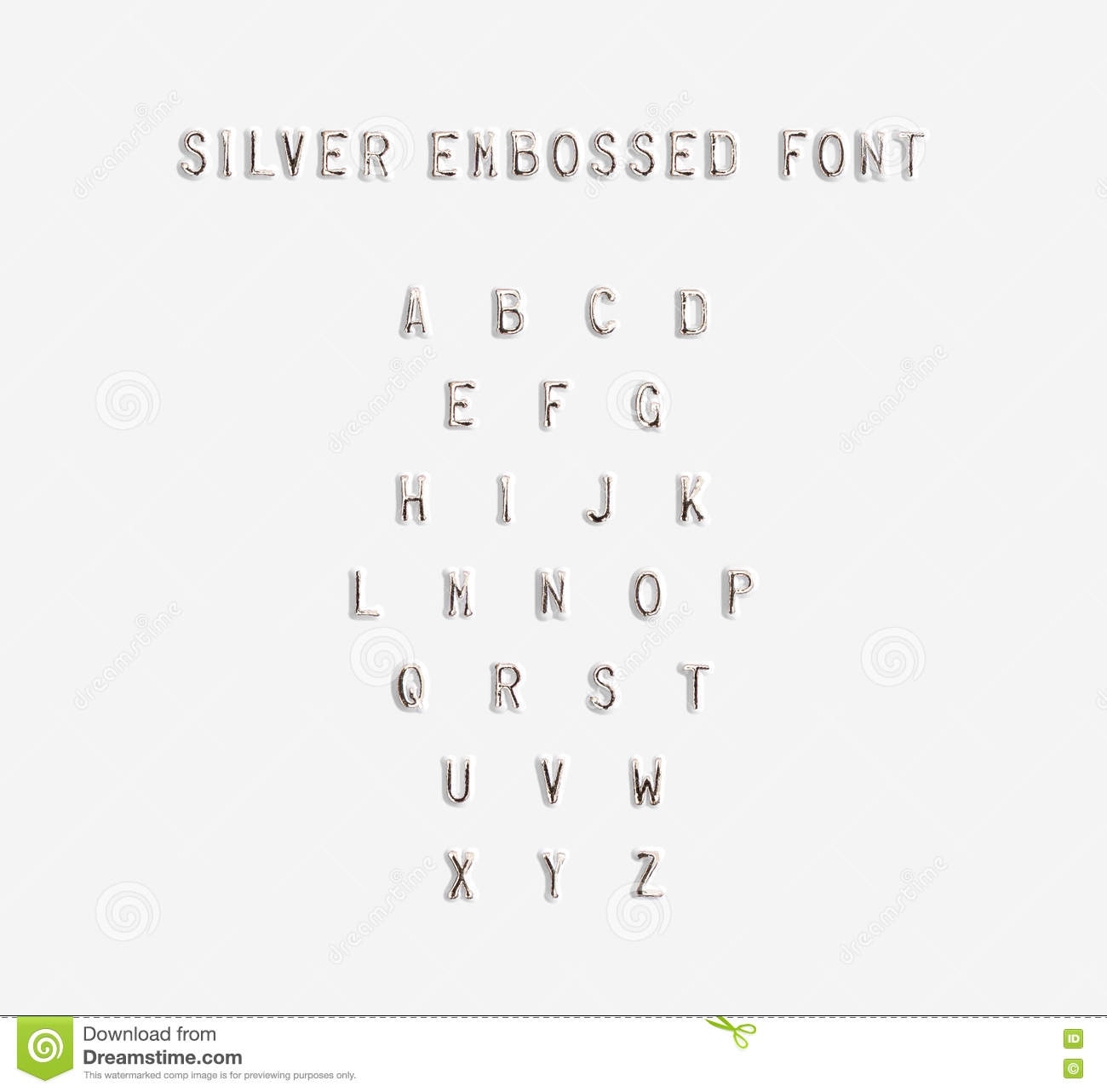 Silver embossed alphabet isolated 3d illustration stock for Embossed letters