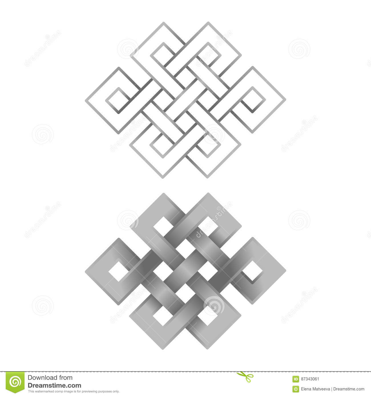 Silver Endless Knots Stock Vector Illustration Of Culture 87343061