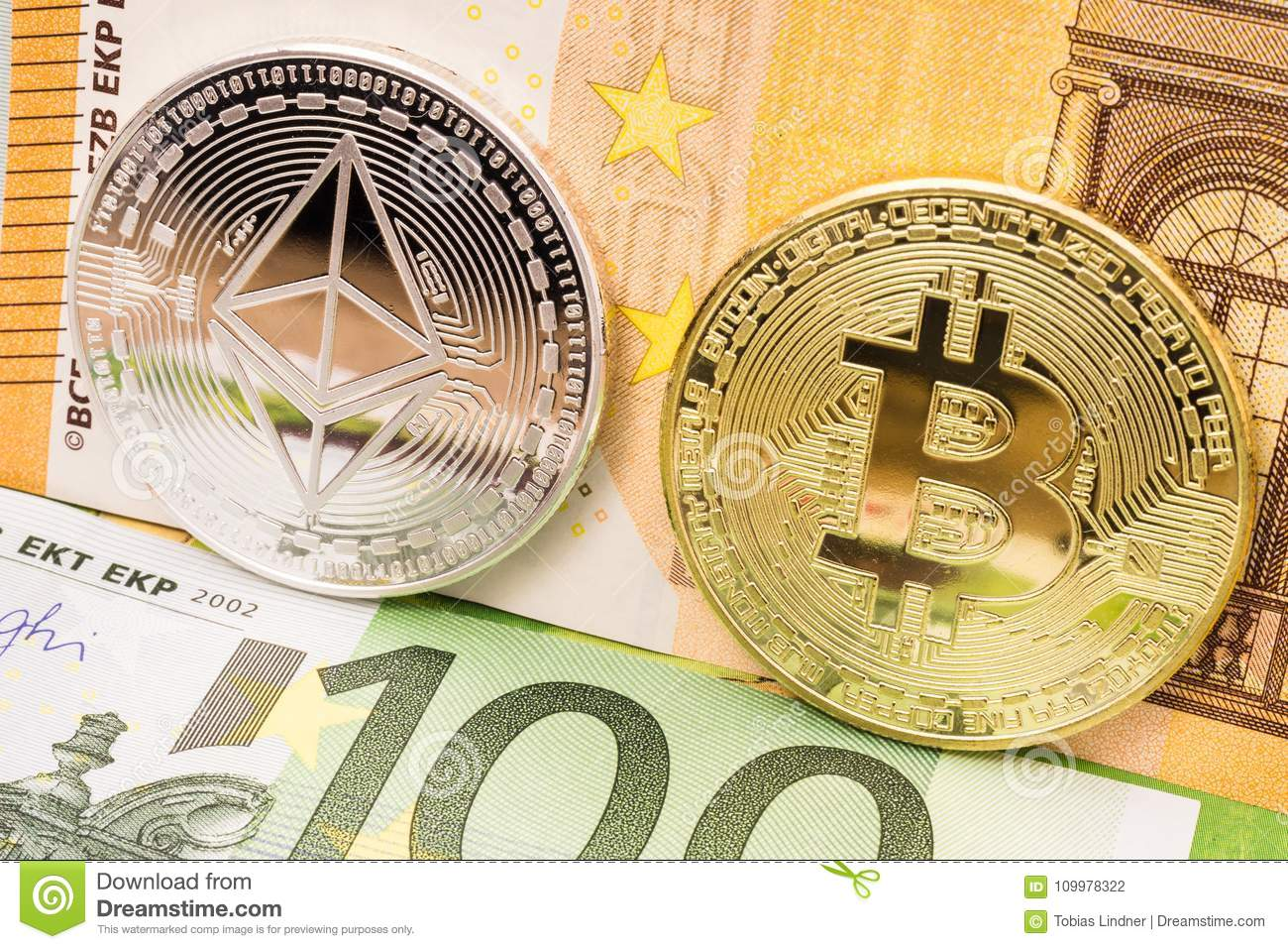 Bitcoin And Ethereum Coins On Euro Money Bills Stock Photo - Image of network, euro: 109978322