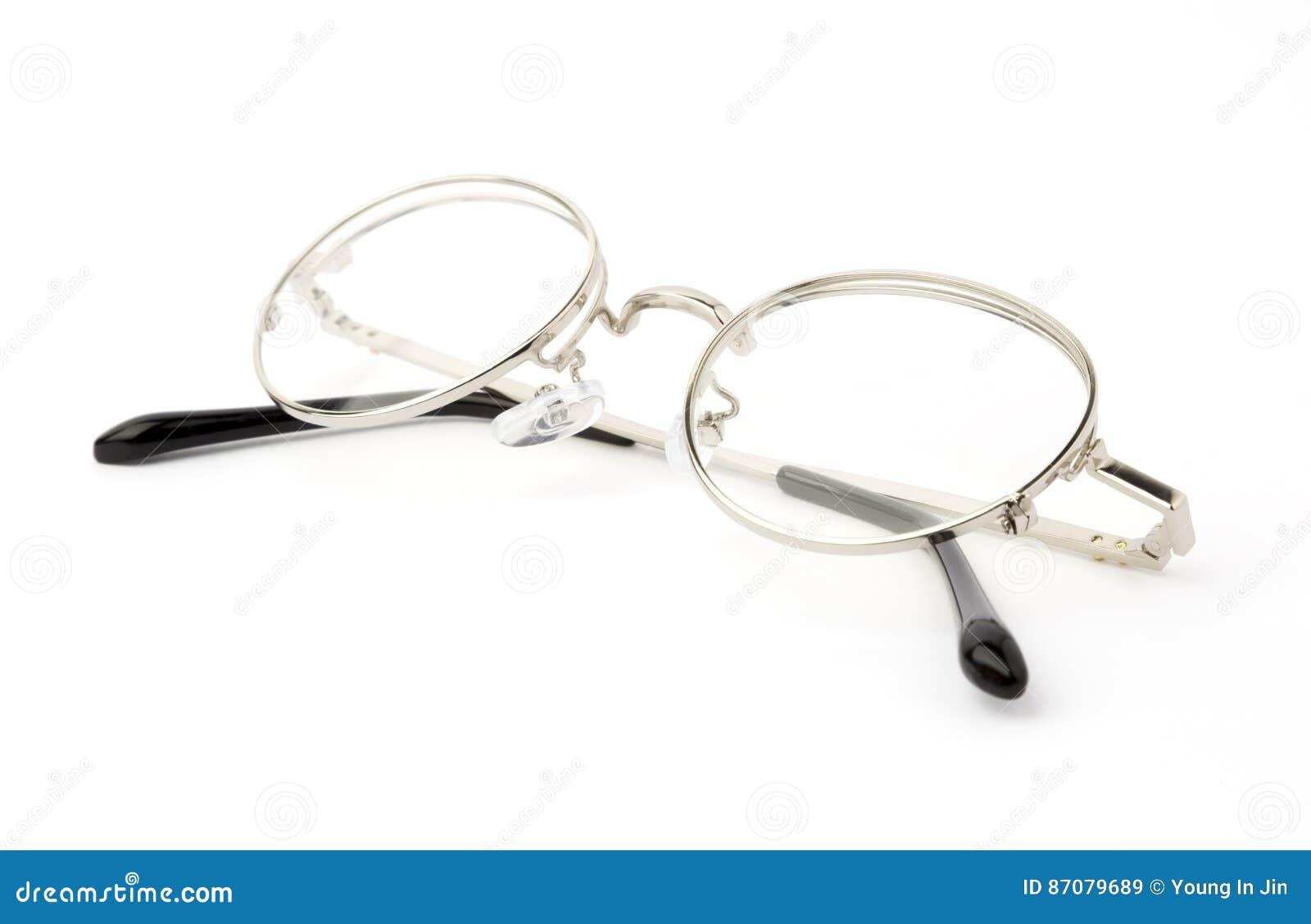 Silver Eye Glasses Folded Isolated on White