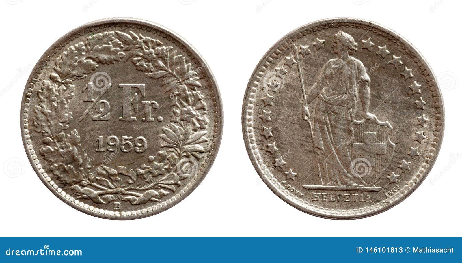 Silver för franc 1959 Schweiz för schweiziskt mynt som halv isoleras på vit bakgrund