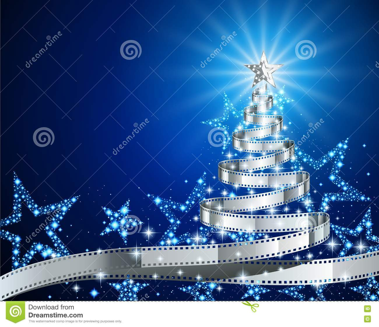 Silver Film Strip Christmas Tree Stock Vector Illustration Of
