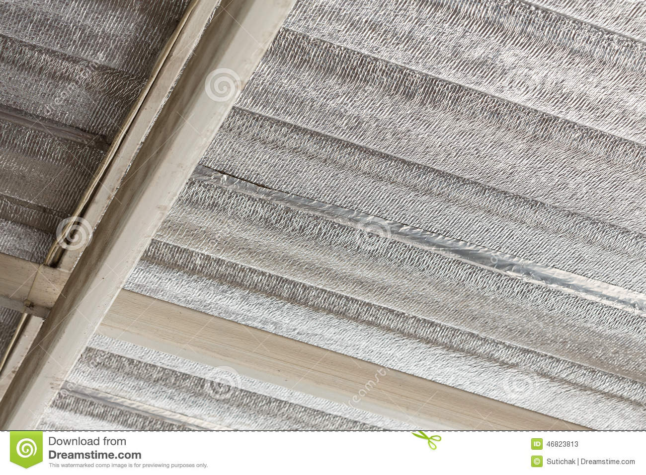 Silver Foil Insulation On Ceiling Roof Stock Image Image