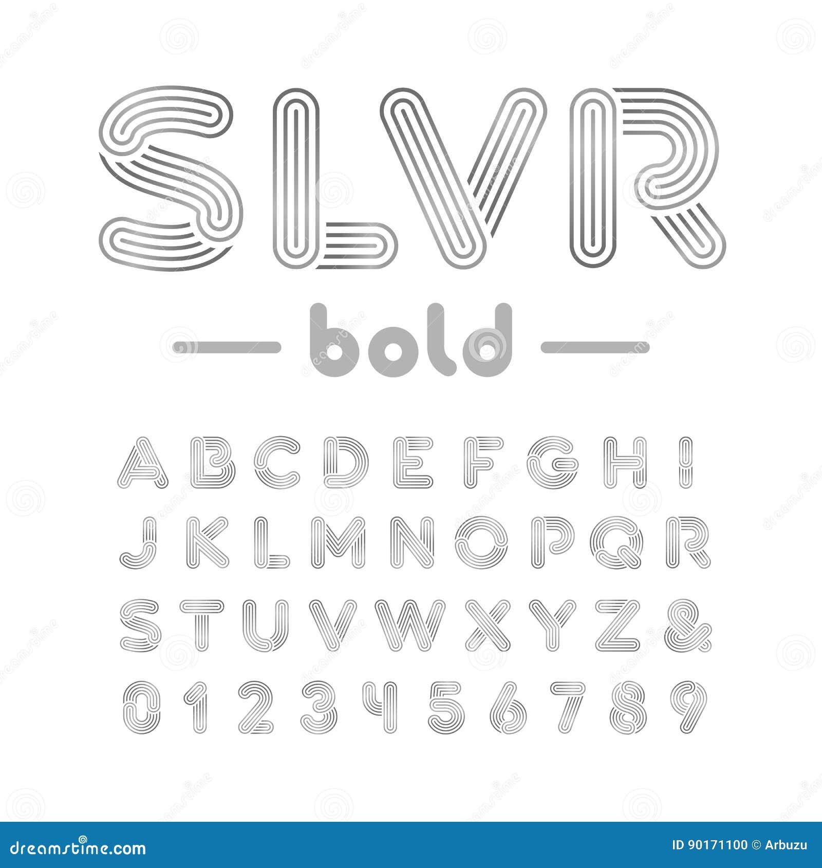 Silver Effect Letters Alphabet: Chrome Alphabet Vector Bold Font. Cartoon Vector