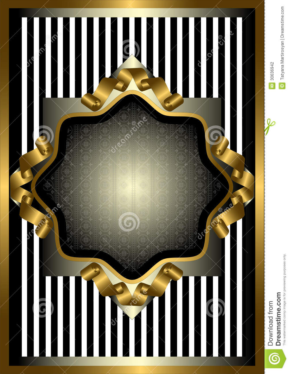 Silver Frame With Gold Decor On Striped Background Stock Vector