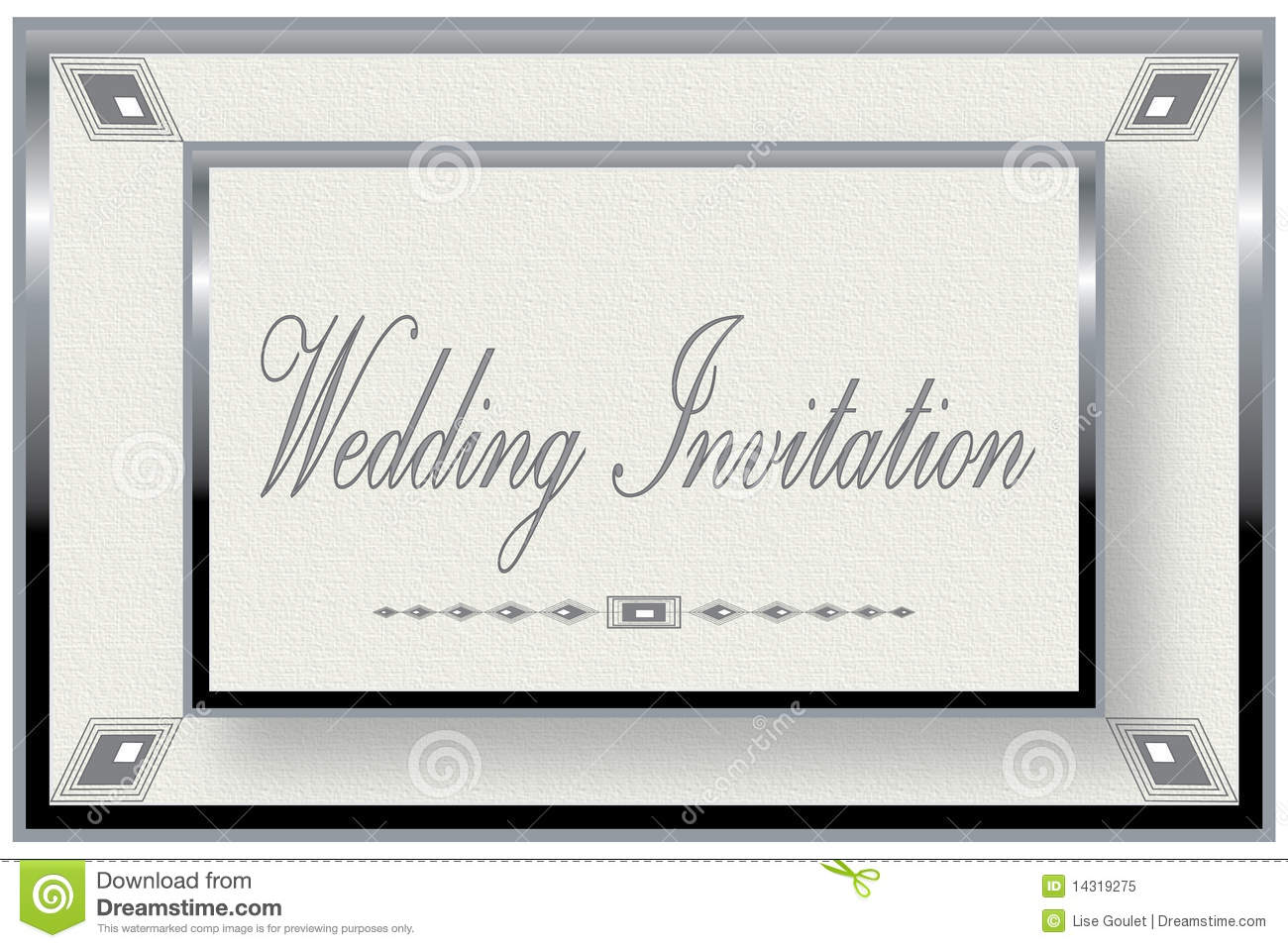 silver frame wedding invitation royalty free stock photo image