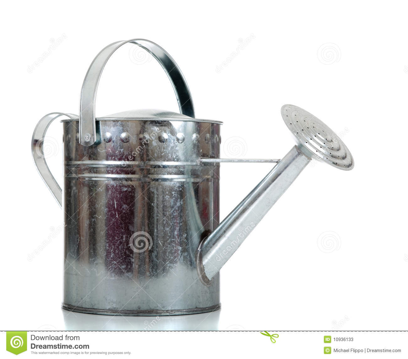 galvanized metal vintage watering can isolated royalty free stock