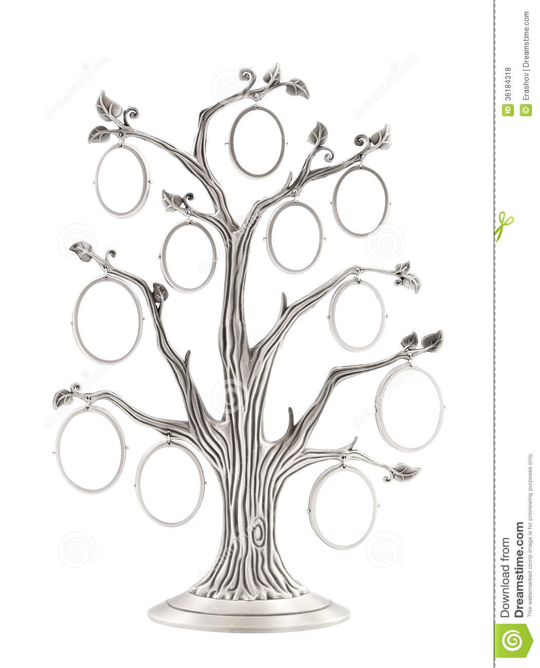 Silver Genealogical Family Tree Stock Photo - Image of empty ...