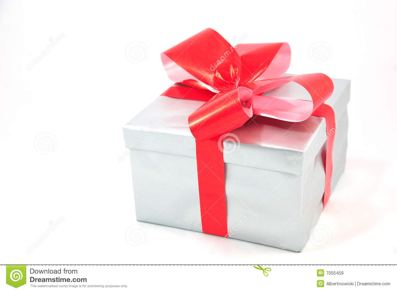 Silver gift box with red bow isolated on white stock image