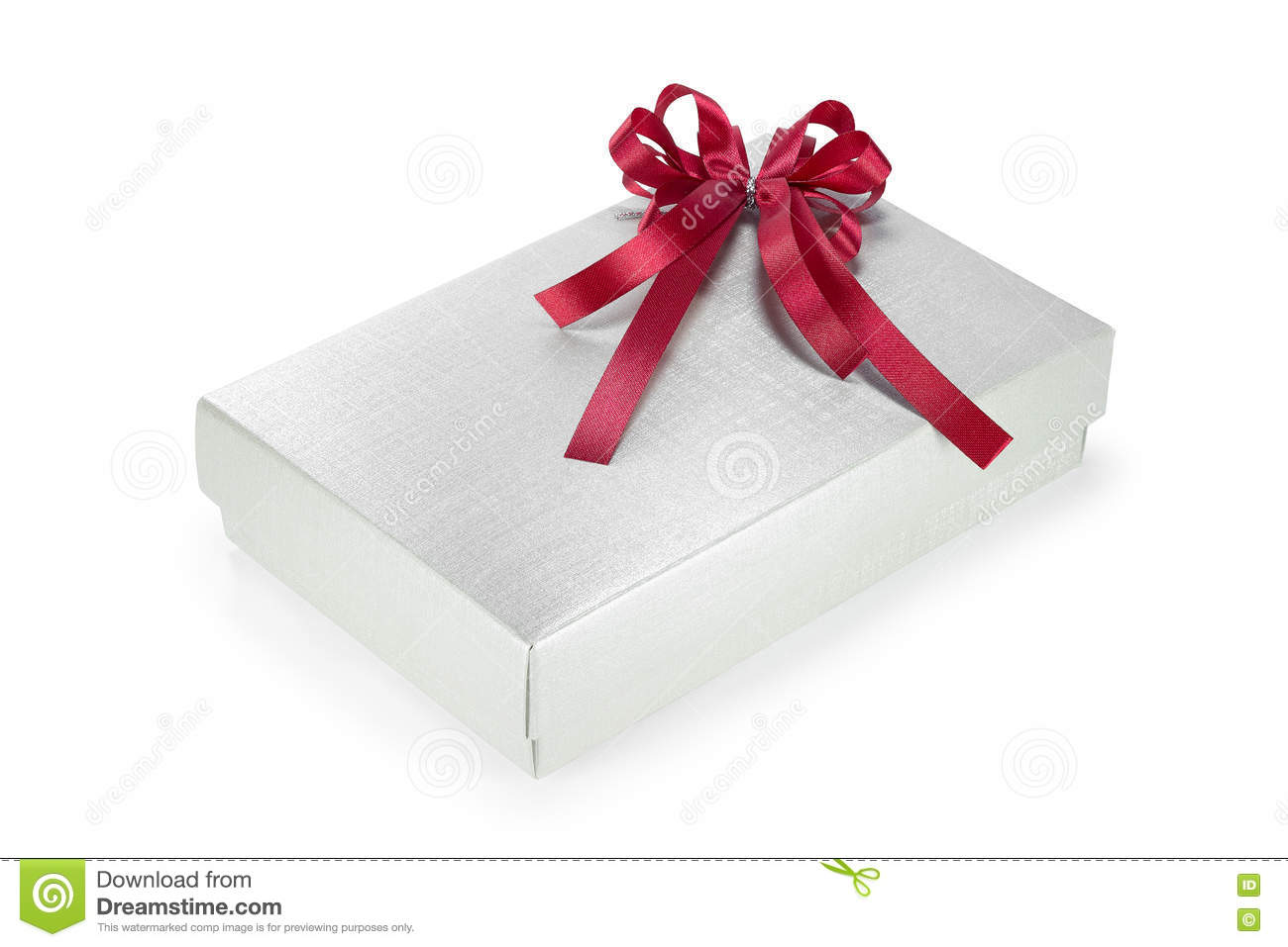 Silver Gift Box With Red Ribbon. New Year Gift. Christmas Present ...