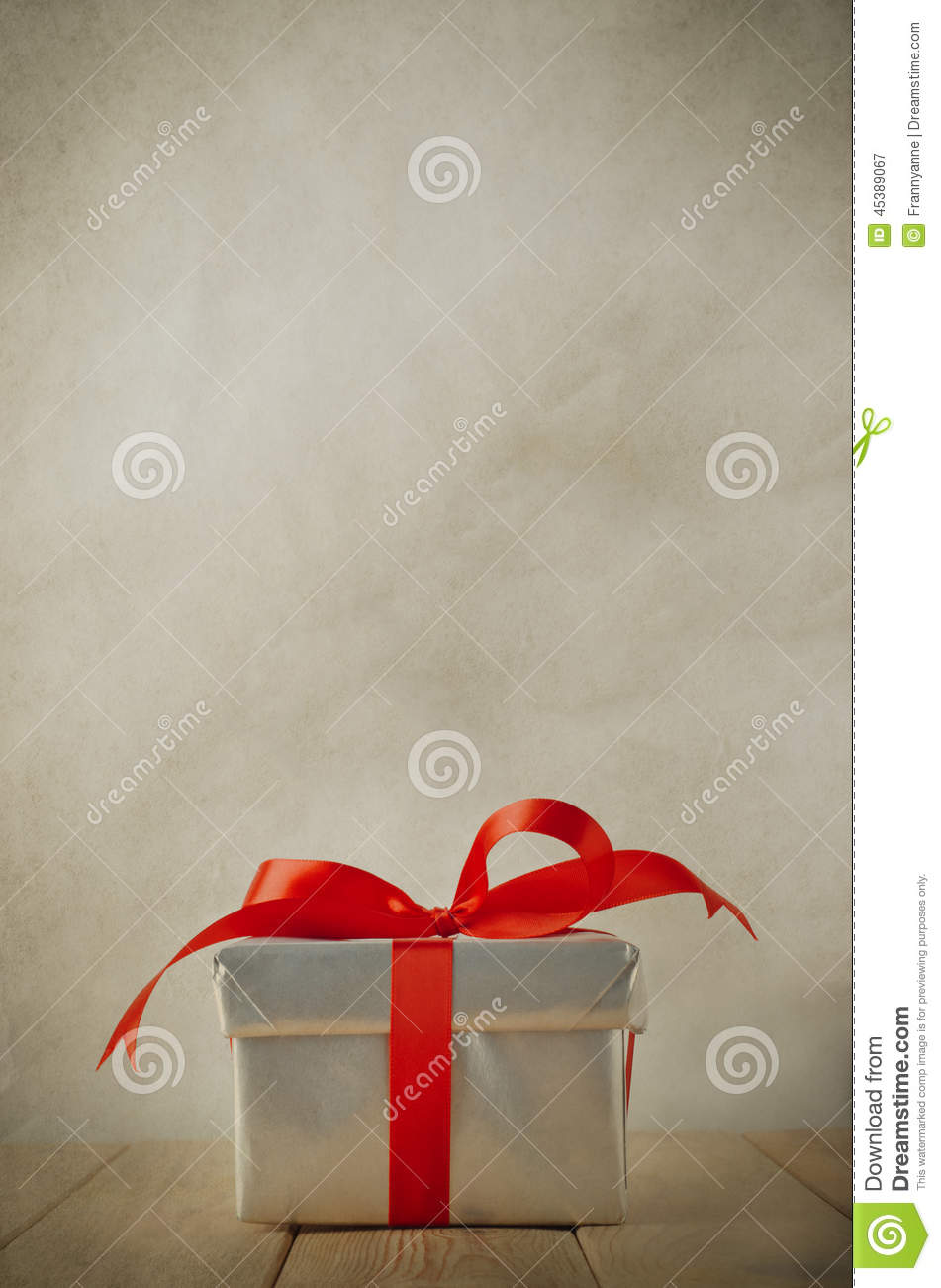 Silver Gift Box On Wood Table Stock Photo Image 45389067