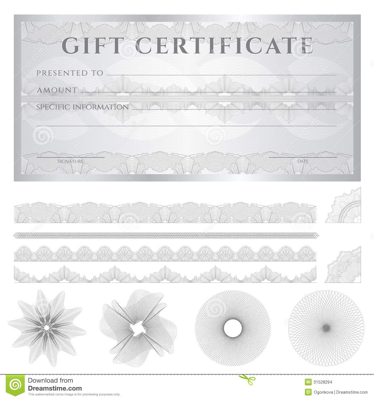 Silver Gift Certificate (Voucher) Template. Patter  Money Voucher Template