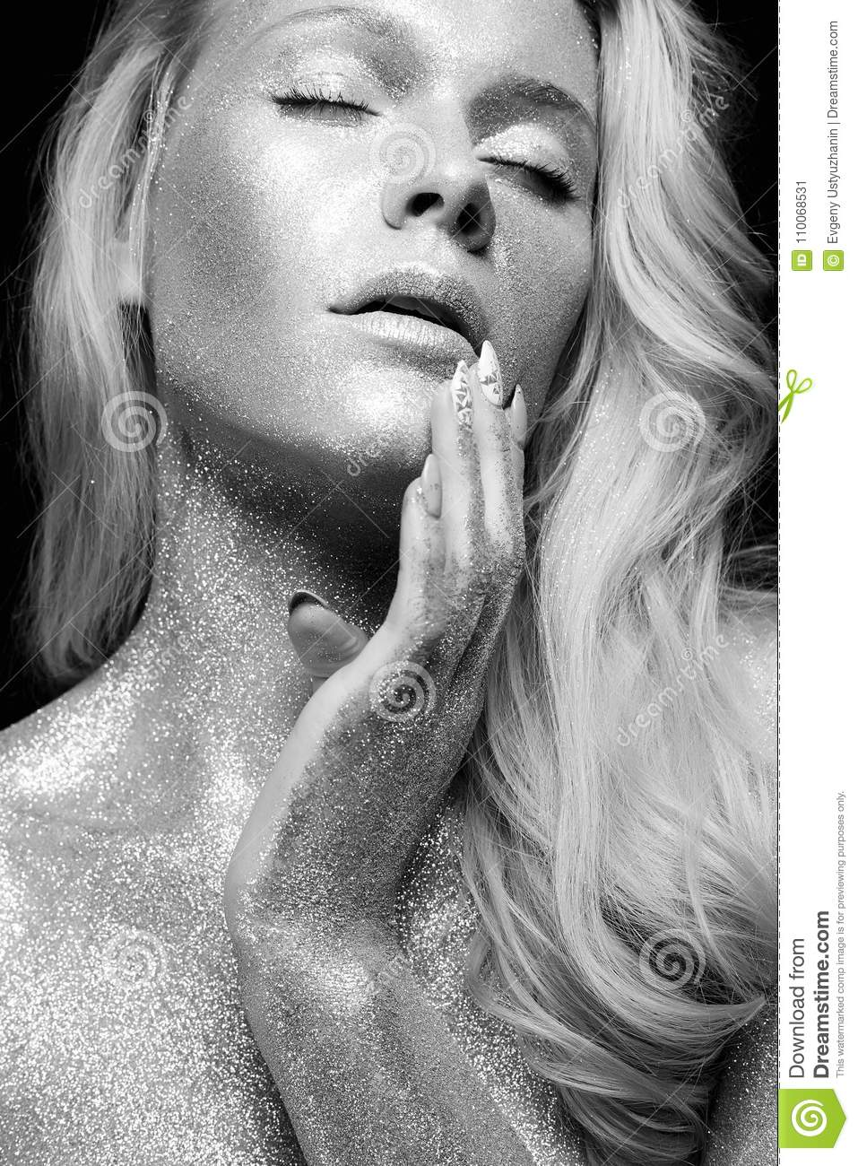 Silver Girl Black And White Beauty Portrait Stock Image Image Of