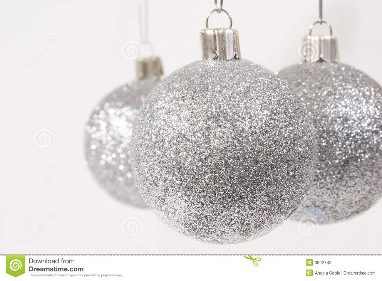 Silver glitter christmas ornaments stock image