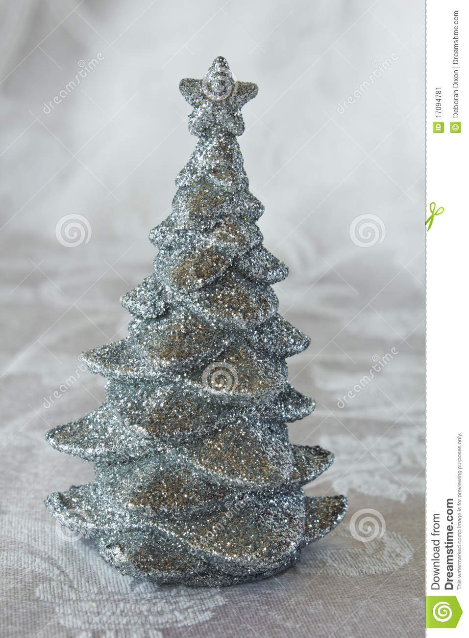 Silver Glitter Christmas Tree Stock Image Image Of