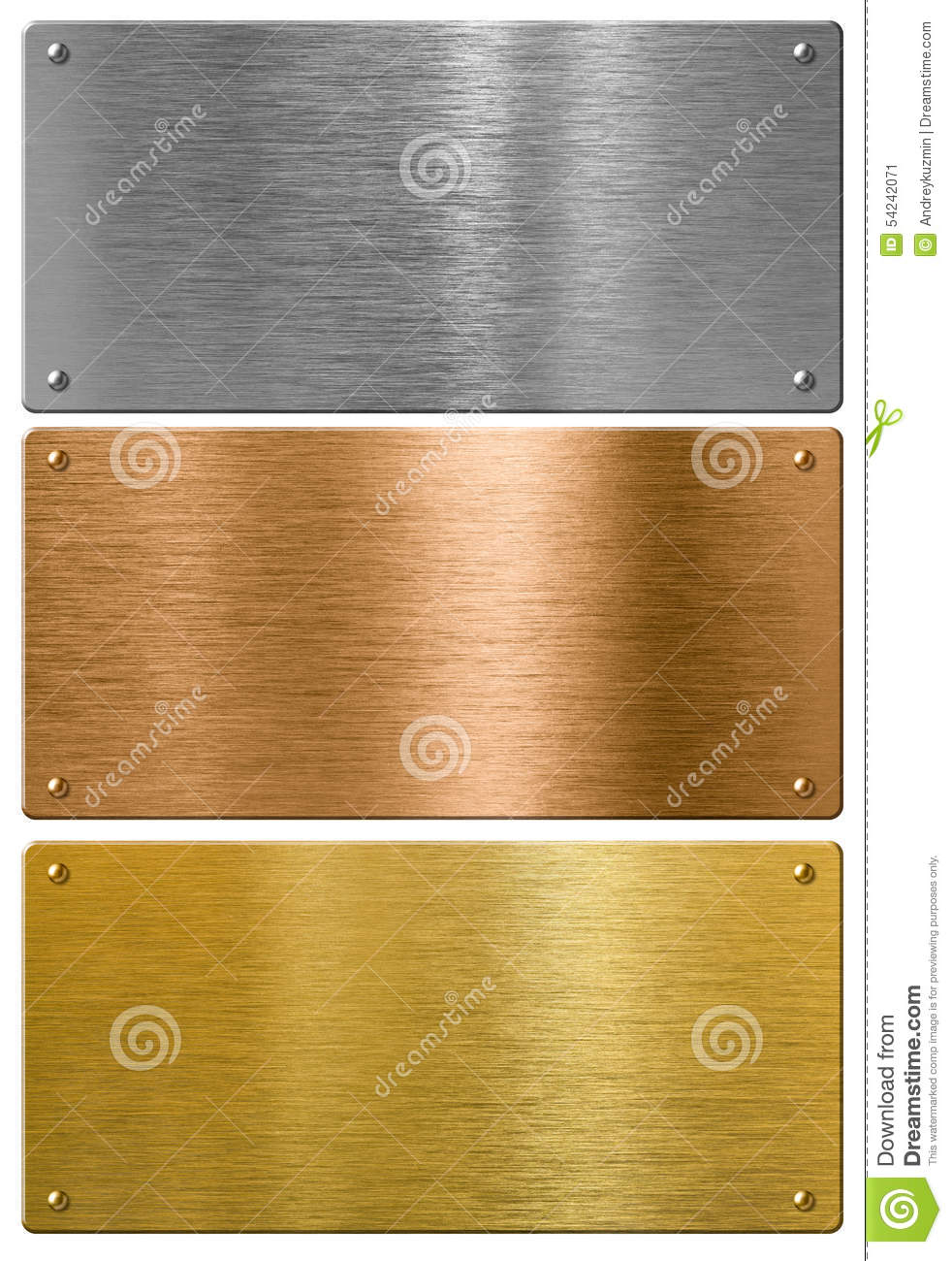 Silver, gold and bronze metal high quality plates