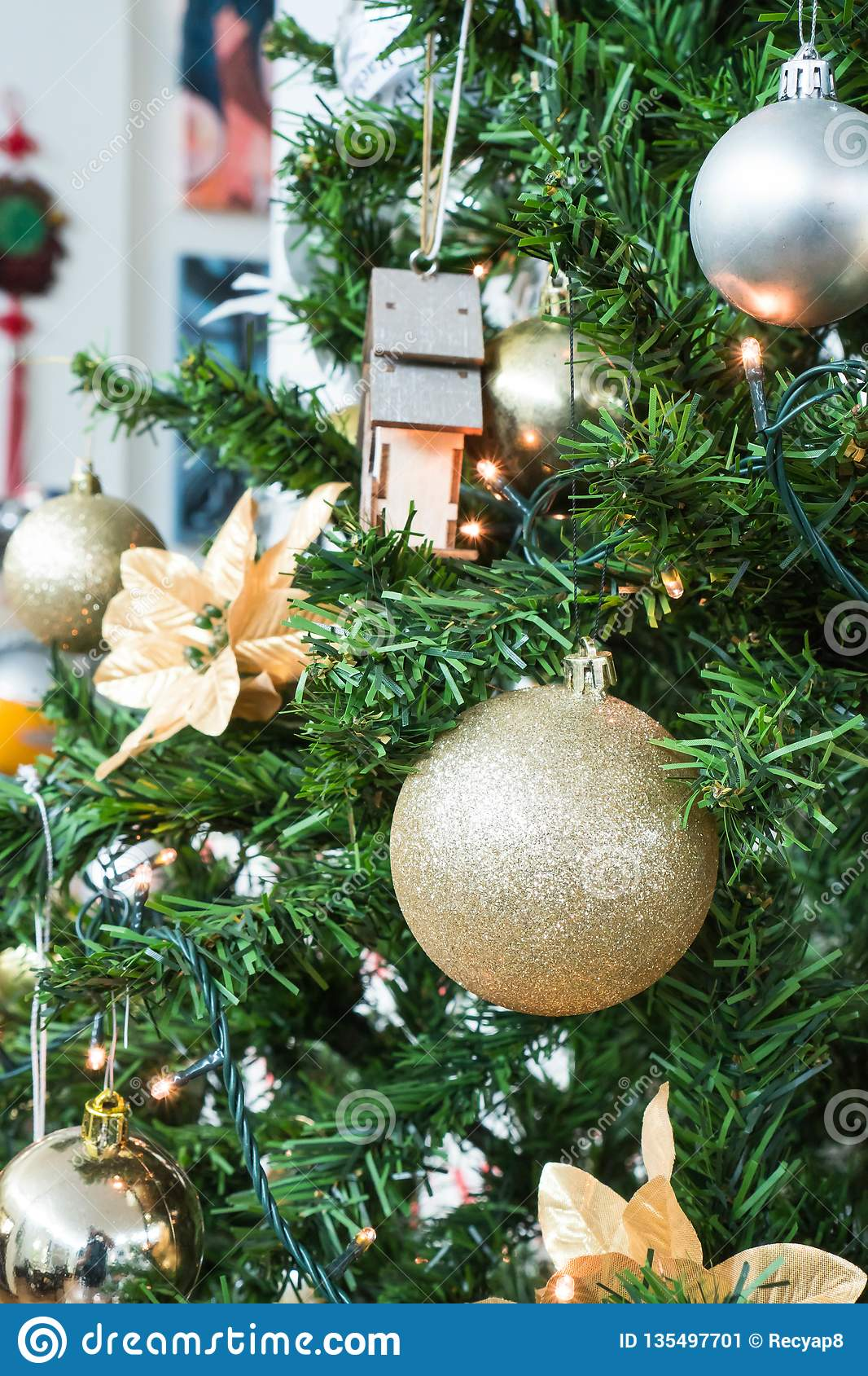 Silver And Gold Christmas Tree Decor Stock Image Image Of Gold