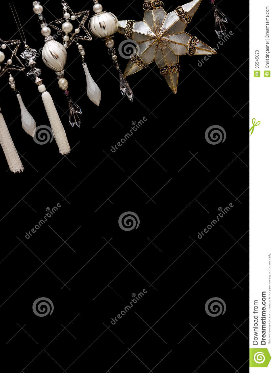 Background Black Christmas Dangling Gold Hanging Ornaments Row Silver Tree  ...