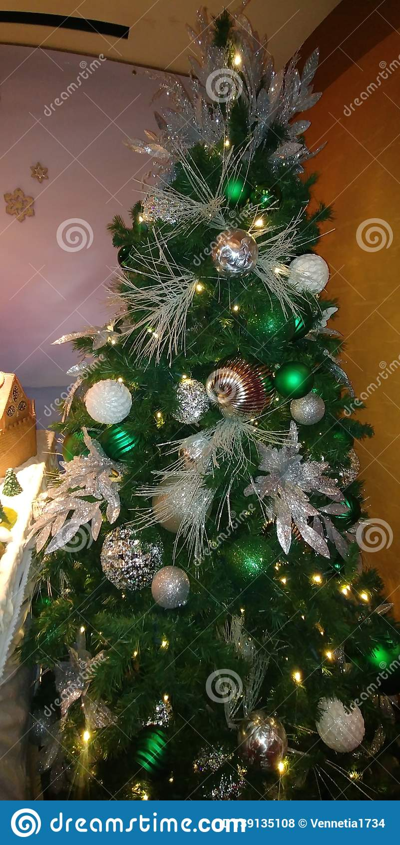Silver And Gold Green Christmas Tree Stock Photo Image Of Merry Christmas 139135108