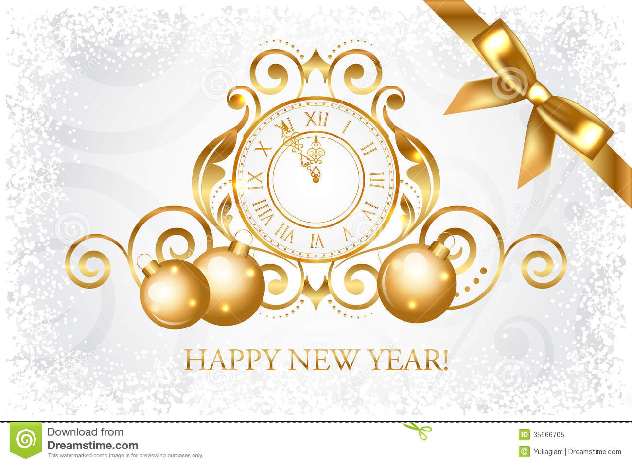 Silver & Gold Happy New Year Card Stock Vector - Illustration of ...