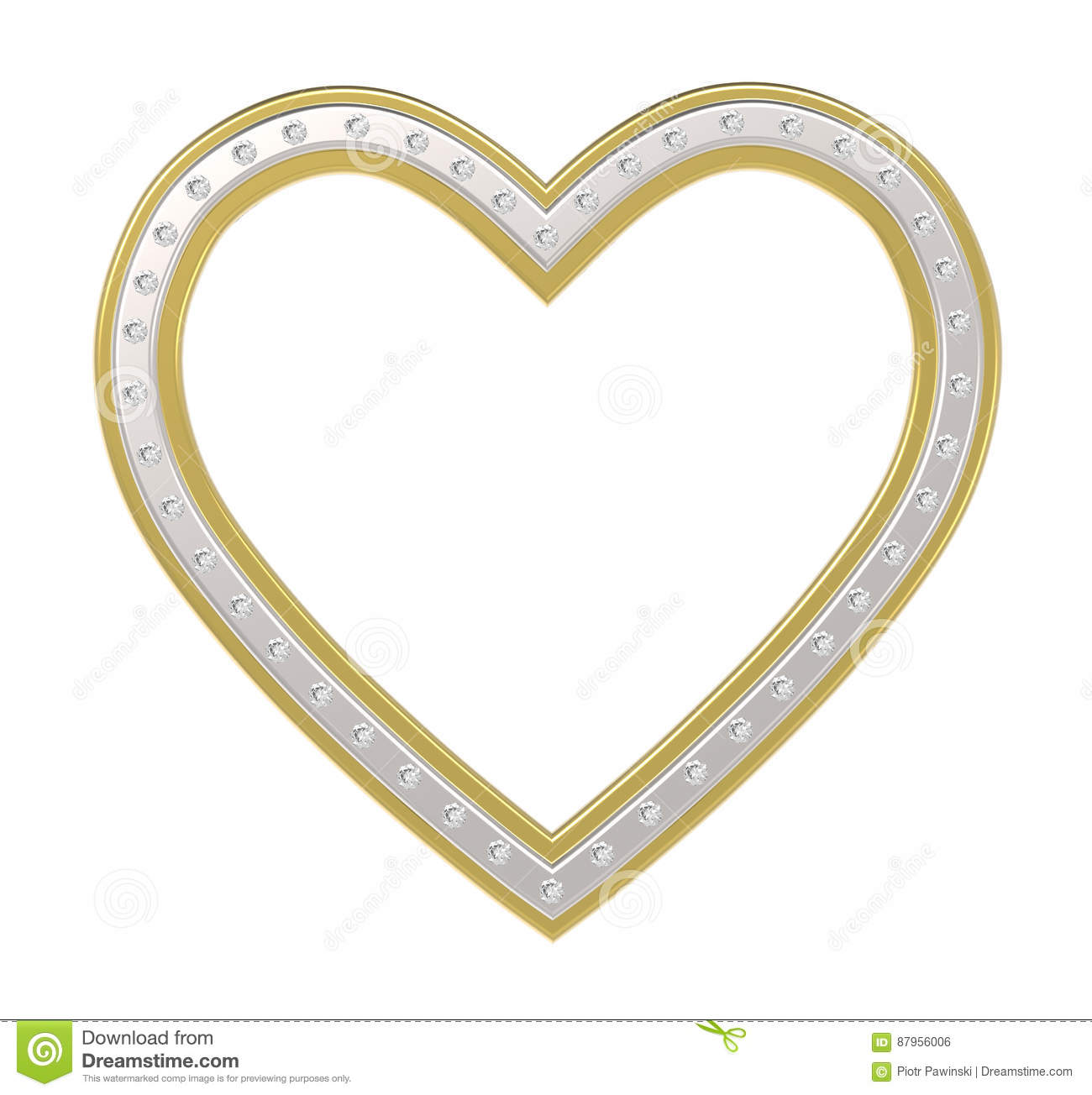 Silver-gold heart with diamonds picture frame