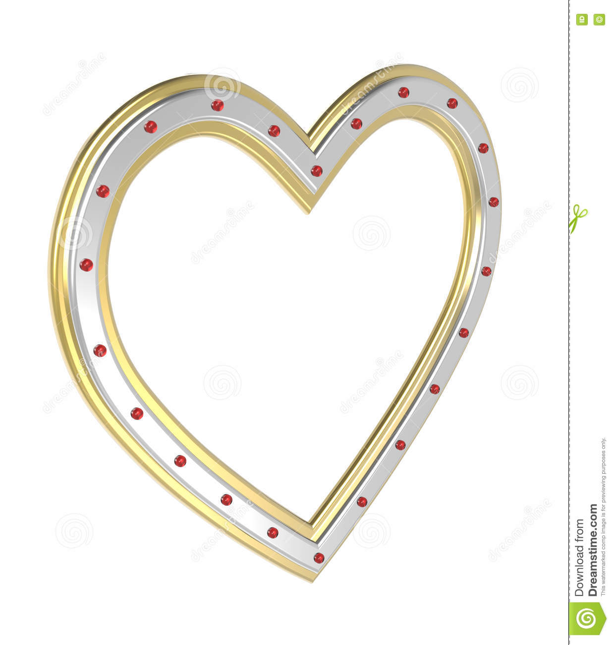 Silver gold heart picture frame isolated on white.