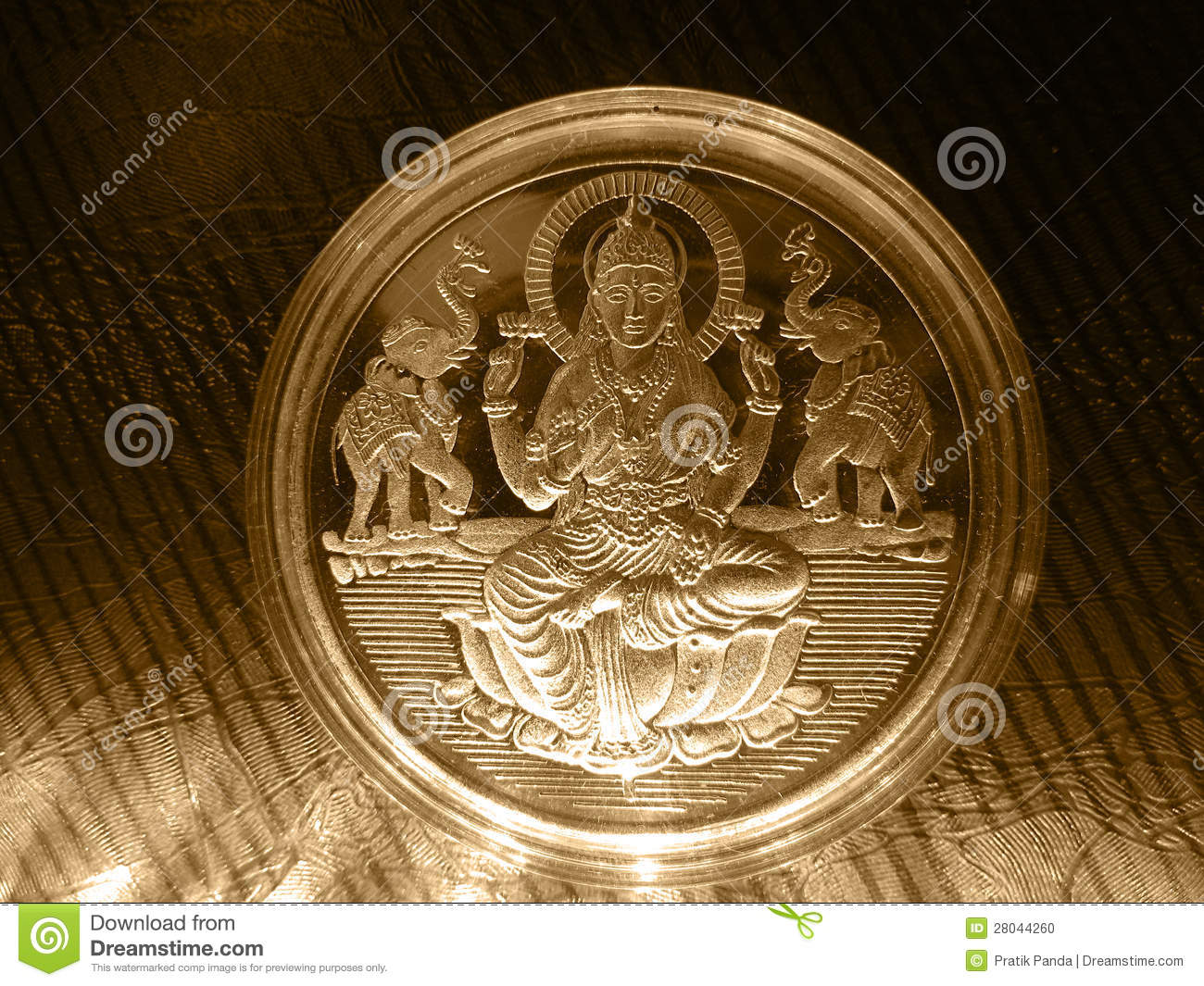 Silver Gold Metal Vintage Coin With Hindu God Stock Photo Image Of Artifact Elephant 28044260