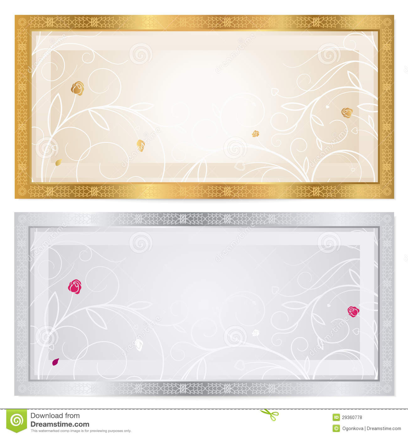 silver    gold voucher template with floral pattern royalty
