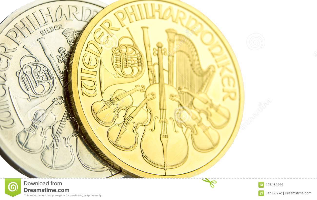 Silver and golden austrian philharmoniker one ounce coins