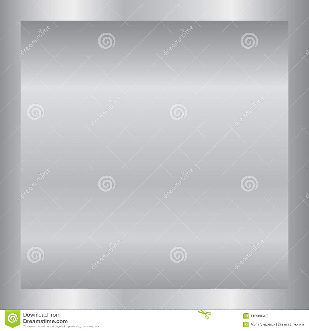Silver gradient background. Silver design texture for ribbon, frame, banner. Abstract silver gradient template. Metal