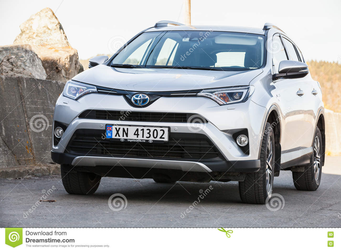Silver Gray Toyota RAV4 Hybrid SUV Editorial Photography ...